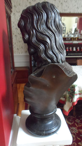 Patinated Bronze Bust of a Girl , a reproduction after the 19th century original, ca. late 20th century