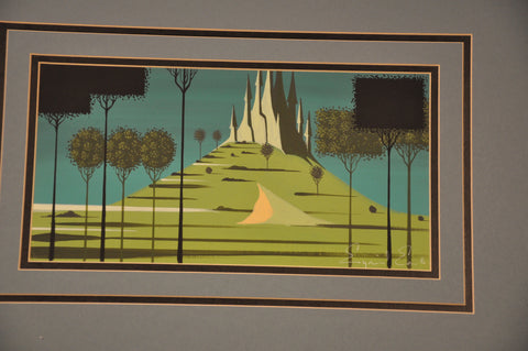 "Eyvind Earle (American, 1916-2000), Study for Disney's ""Sleeping Beauty"", ca. 1950s, gouache, signed"