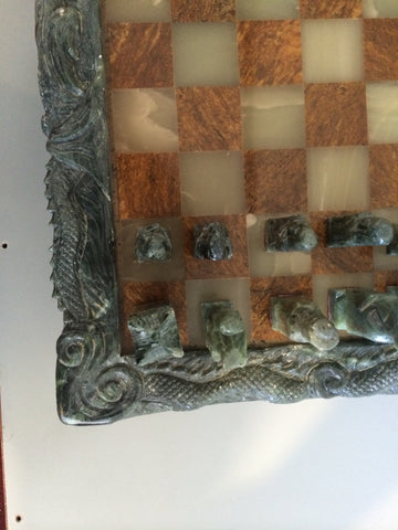 Korean Carved Hardstone and Jade Chess Set, 20th century