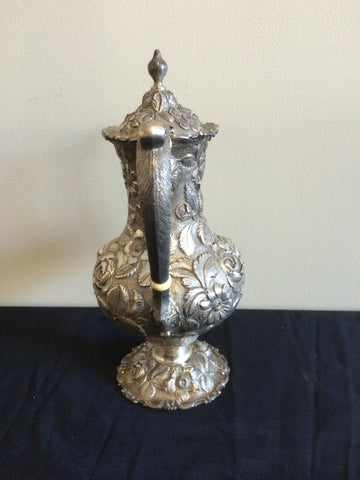 "American Silver Coffee Pot, Stieff, early 20th century, in the ""Rose"" pattern"