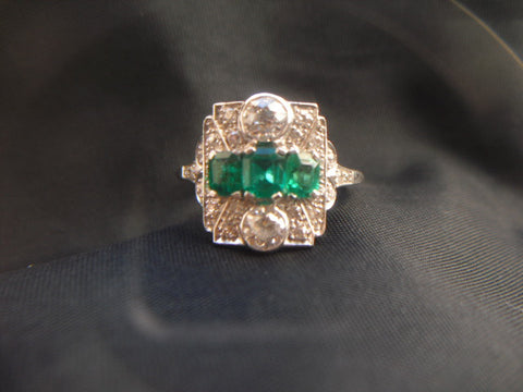 Art Deco Platinum, Emerald and Diamond Ring, 20th century