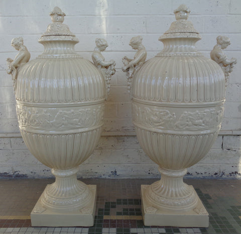 Pair of Leeds Type Creamware or Earthenware Lidded Urns, ca. 19th/20th century, with artichoke and acanthus leaf lids