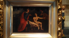 Italian School Style (17th Century) Female Nude with Two Men, oil on slate, unsigned