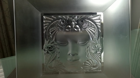 "Lalique ""Masque de Femme"" Glass Dish, French, 20th century, signed and numbered L038"