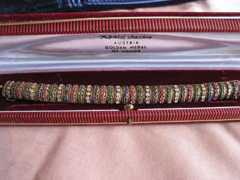14K Yellow Gold, Ruby, Diamond, Sapphire and Emerald Bracelet, mid-20th century