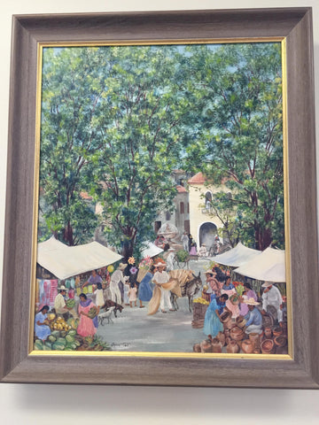 Agnes Gabrielle Tait (American, 1894-1981), Market in Oaxaca, Mexico, oil on canvas, signed