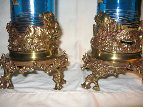 Pair of Baccarat Bronze and Glass Aesthetic Movement Vases, France, ca. 1870-1900
