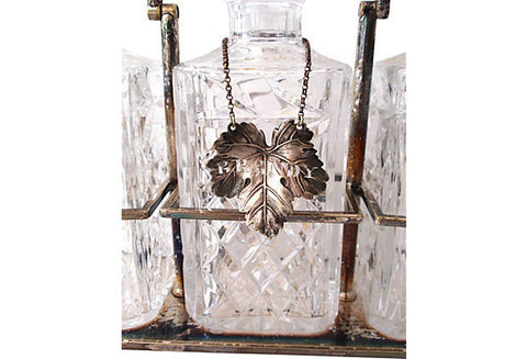 Silver-Plated Decanter Stand with Three Cut Glass Decanters, early 20th century