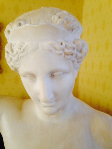 Italian Carved White Marble Portrait Bust of a Classical Female, 19th century, unsigned