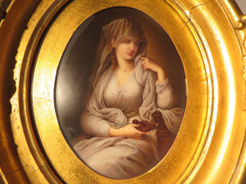 KPM Porcelain Plaque of the Duchess of Devonshire as a Vestal Virgin, Berlin, late 19th century, after the original portrait by Anjelica Kauffmann (1741-1807)