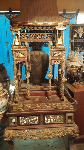Chinese Gilt and Red Lacquered Wood Shrine, late 19th/early 20th century