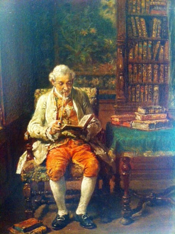Francois Adolphe Grison (French, 1845-1914), A Gentleman Reading in His Library, oil on mahogany panel, signed