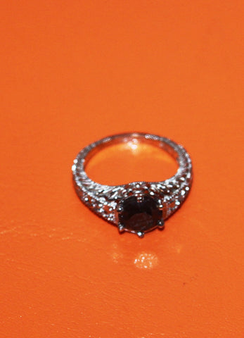 14K White Gold and Black Diamond Ring, Contemporary
