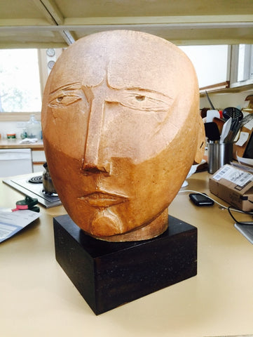 Gabriel Kohn (American, 1910-1975), Glazed Plaster Large Sculpture of a Head, 20th century, signed