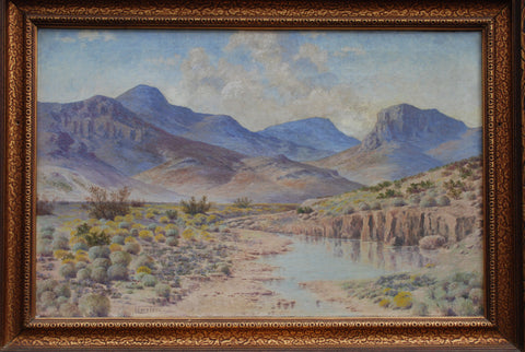 Lewis Woods Teel (American, 1883-1960), West Texas Landscape, oil on canvas, signed and framed, 20th century