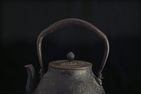 Japanese Cast Iron Teapot (Tetsubin) with Lid, 19th century, with a design of hō-ō birds