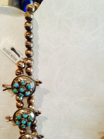Turquoise and Silver Squash Blossom Necklace, mid-20th century