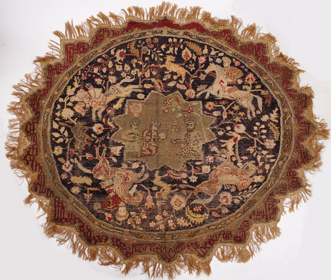 Turkish Kayseri Silk and Metal Thread Circular Pictorial Rug, Central Turkey, ca. 1920, on cotton foundation