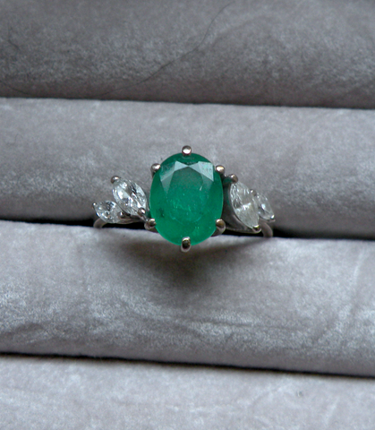18K White Gold, Emerald, and Diamond Ring, ca. 1982, H. Stern, Rio de Janiero, Brazil