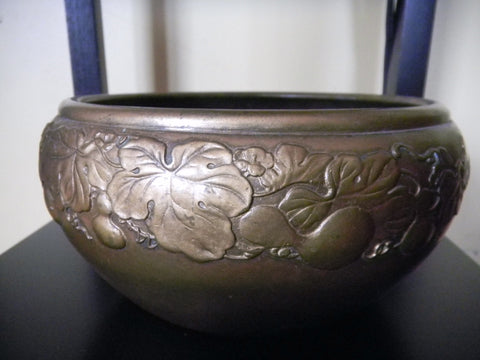 "Japanese Patinated Cast Bronze Small Bowl, marked ""Sanyo"", Taishō period, early 20th century"