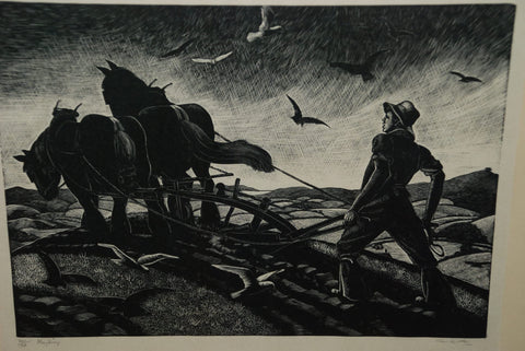 "Clare Leighton (American, b. England, 1898-1989), ""Ploughing"", 1930, wood engraving, signed, titled, numbered in pencil"