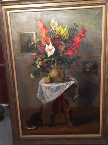 "Robert Philipp (American, 1985-1981), ""Flowers on Table"", 1955, oil on canvas, signed"