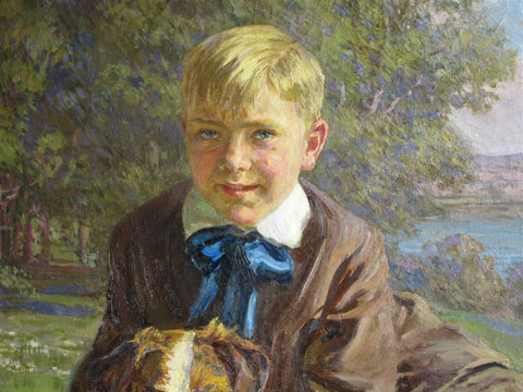 Robert Wadsworth Grafton (American, 1876 - 1936), Boy and Collie, 1919, oil on canvas, signed