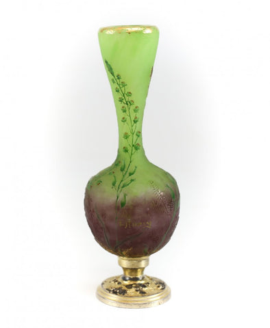 Daum Nancy Cameo and Enameled Glass Miniature Vase with silver-gilt base, French, early 20th century, signed
