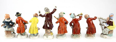 Eight Dresden Painted Porcelain Monkey Orchestra Figurines, German, 19th/20th century, after a Meissen 18th century design