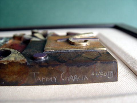 "Tammy Garcia (Native American, b. 1969), Untitled, patinated bronze tile, signed and numbered ""41/50"""