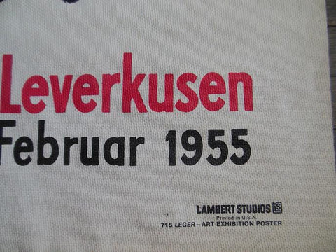 Exhibition Poster, Fernand LŽeger, Museum Morsbroich February 1955, Leverkusen, Germany, silkscreen on canvas