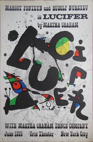"Poster, Joan Mir—ó, ""Lucifer"", Uris Theater June 1975, New York, lithographic poster, unframed"