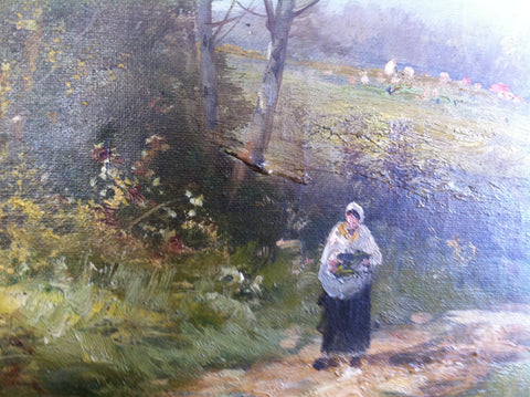 Edma Morisot-Pontillon (French, 1839-1921), Wooded Valley with a Woman Walking on a Path, oil on canvas, signed