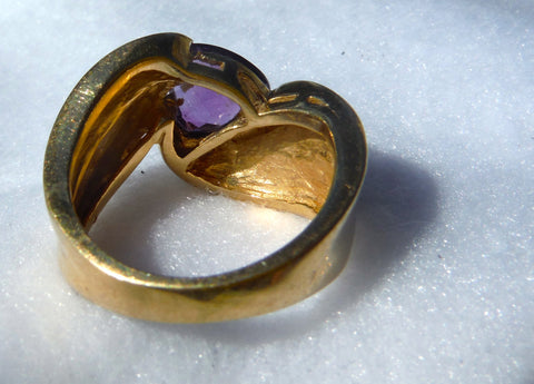 14K Yellow Gold and Trilliant Cut Amethyst Ring, 20th century