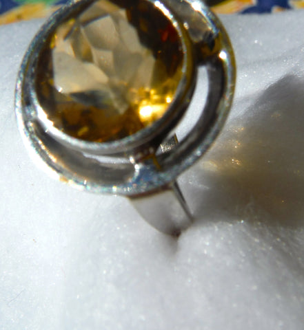 14K White Gold and Citrine Ring, 20th century