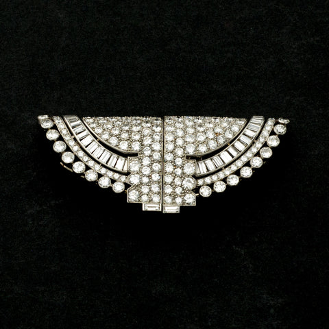 Ostertag Art Deco Platinum and Diamond Double Clip Brooch Arnold Ostertag, Paris, circa 1938