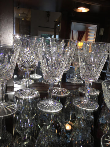 Group of 36 Pieces of Waterford Cut Glass Stemware Lismore pattern, comprising 12 saucer champagnes, 12 white wines & 12 red wines