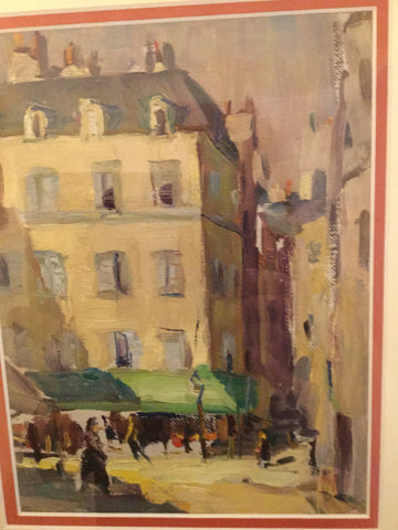 Lloyd Lozes Goff (American, 1918-1982), Untitled (Paris Street Scene with Green Awning), 1928, oil on canvas