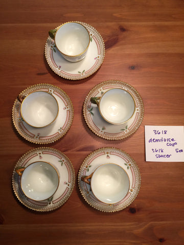 "Five Danish Porcelain ""Flora Danica"" Demitasse Cups and Saucers, Royal Copenhagen, pattern no. 20, shape no. 3618, fully marked"