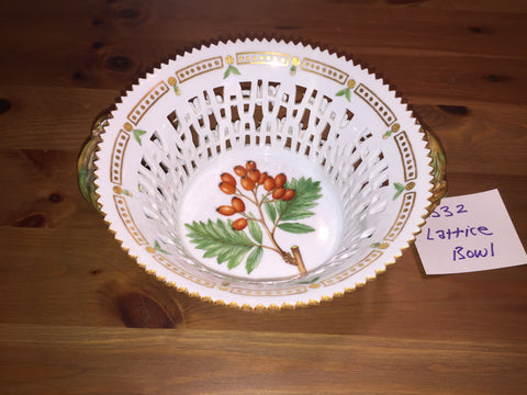 "Danish Porcelain ""Flora Danica"" Botanical Fruit Basket, Royal Copenhagen, fully marked, pattern no. 20, shape no. 3532, 20th century"