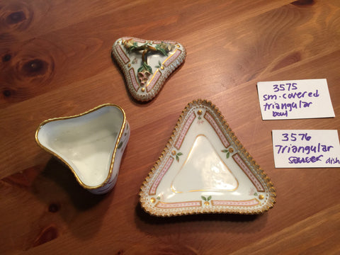 "Danish Porcelain ""Flora Danica"" Triangular Custard Cup and Saucer Royal Copenhagen, fully marked, pattern no. 20, shape nos. 3575 & 3576, 20th century"