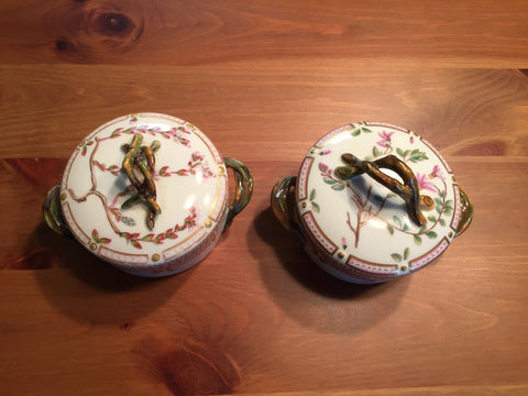 "Pair of Danish Porcelain ""Flora Danica"" Covered Butter Tubs, Royal Copenhagen, fully marked, pattern no. 20, shape no. 3502, 20th century"