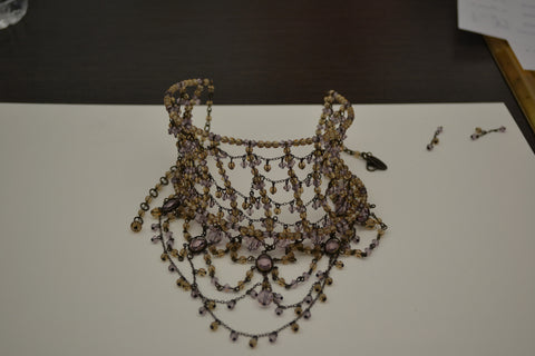 Erickson Beamon Beaded and Wire Collar Necklace, contemporary