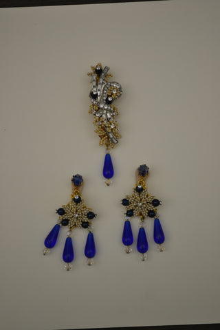 Stanley Hagler Brooch and Pair of Clip Earrings, American, 20th century, fully marked