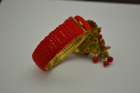 Stanley Hagler Red Beaded Cuff Bracelet, American, 20th century, marked