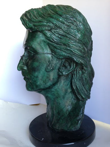 Martine Vaugel (French/American, 20th Century) , Portrait Bust of a Man Wearing Glasses, patinated bronze sculpture, Artist Proof
