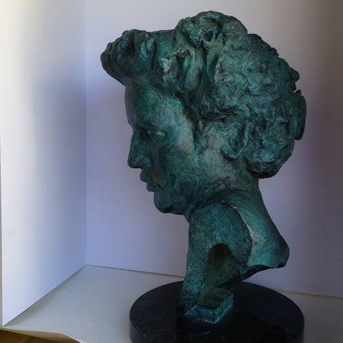 Martine Vaugel (French/American, 20th Century), Portrait Bust of a Woman, 1991, patinated bronze sculpture, FP1/1