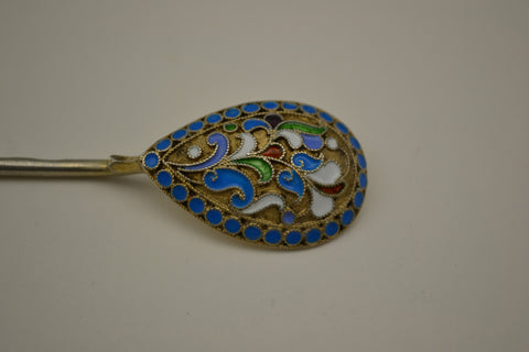 Russian Silver and Enamel Spoon, early 20th century, 800 standard