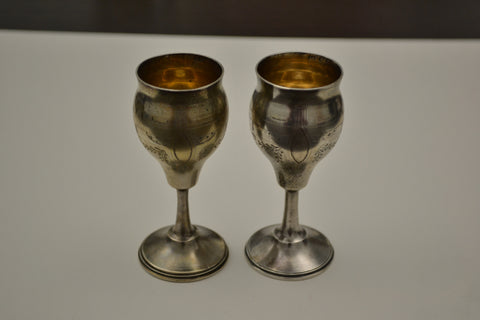 Pair of Russian Silver Small Goblets