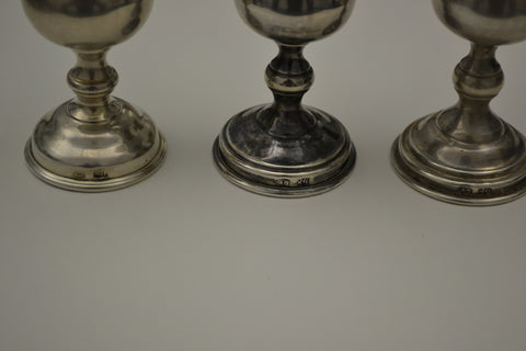 Three Russian Silver Vodka Cups, early 20th century